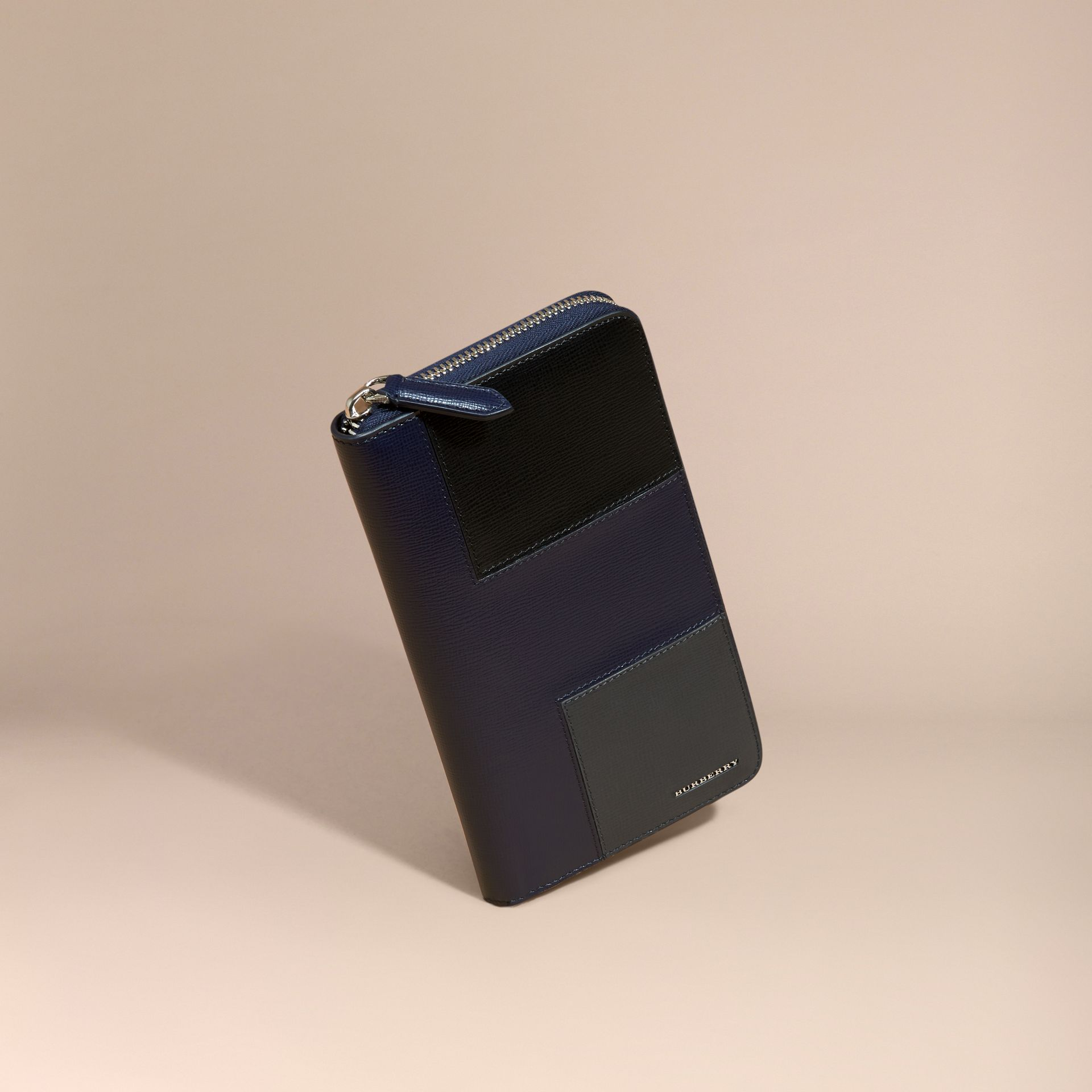 Dark navy Panelled London Leather Ziparound Wallet Dark Navy - gallery image 1