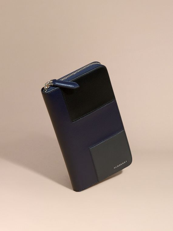 Panelled London Leather Ziparound Wallet Dark Navy