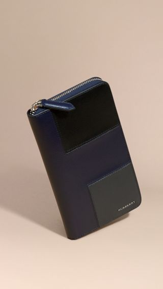 Panelled London Leather Ziparound Wallet
