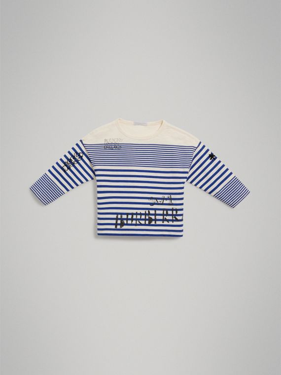 SW1 Print Striped Cotton Top in Bright Lapis/natural White