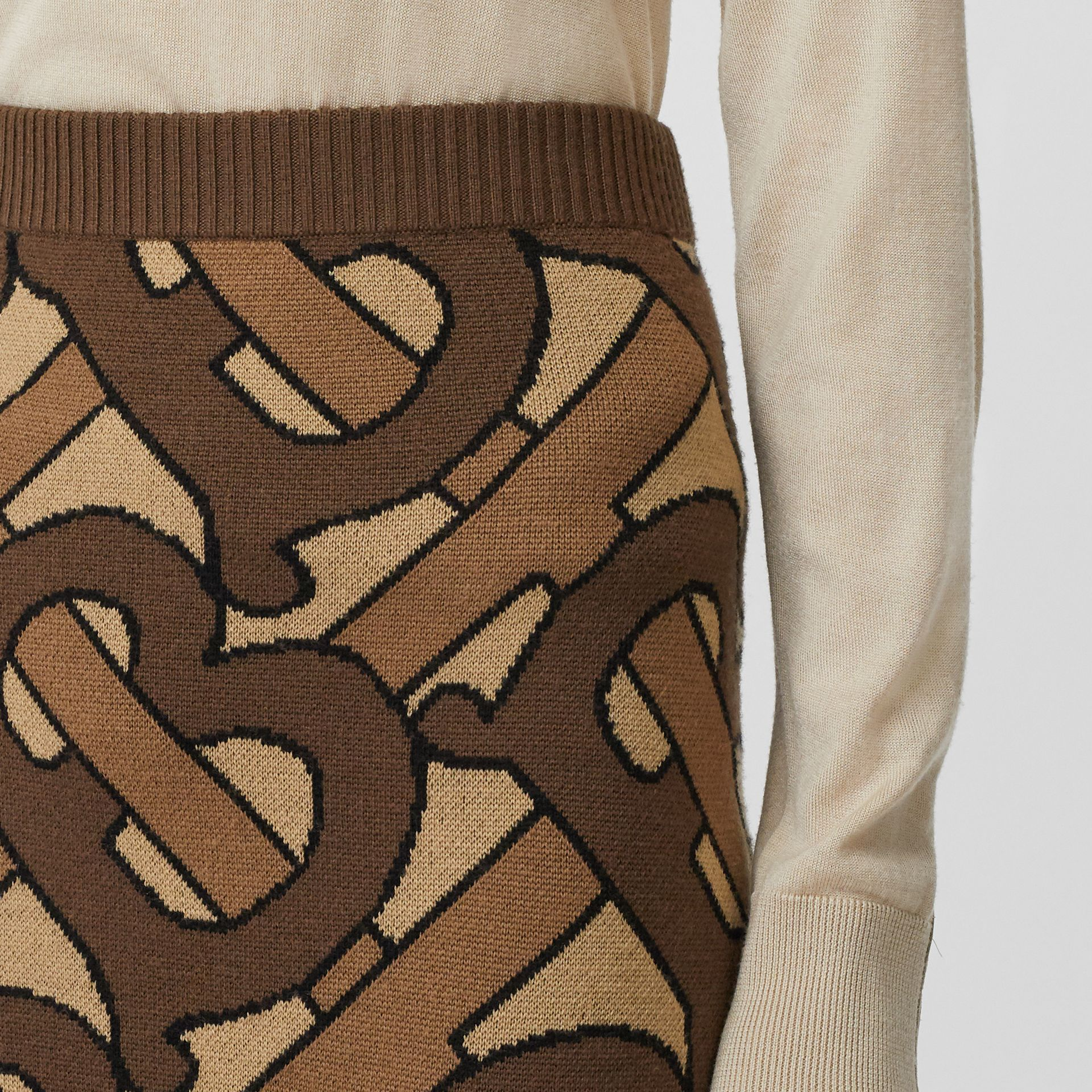 Monogram Intarsia Wool Pencil Skirt in Bridle Brown - Women | Burberry - gallery image 1
