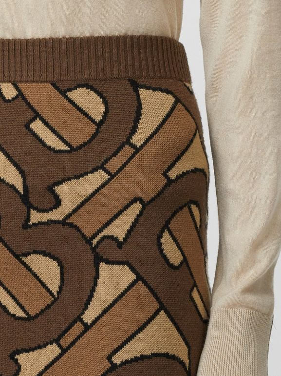 Monogram Intarsia Wool Pencil Skirt in Bridle Brown - Women | Burberry Singapore - cell image 1