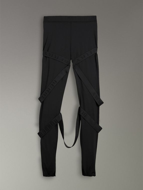 Strap Detail Jersey Leggings in Black | Burberry - cell image 3