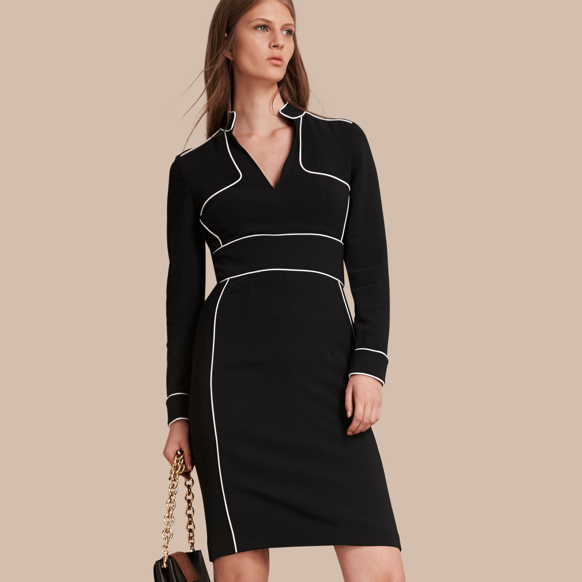 Black Long-sleeved Fitted Dress with Piping Detail - gallery image 1