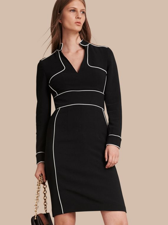 Long-sleeved Fitted Dress with Piping Detail