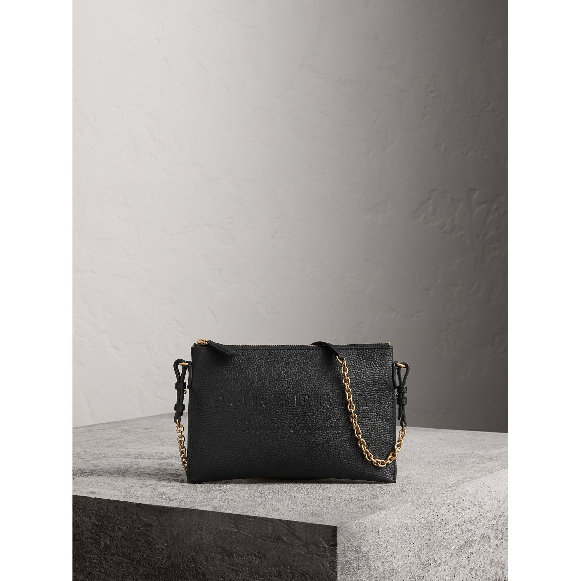 Embossed Leather Clutch Bag in Black - Women | Burberry - gallery image 1