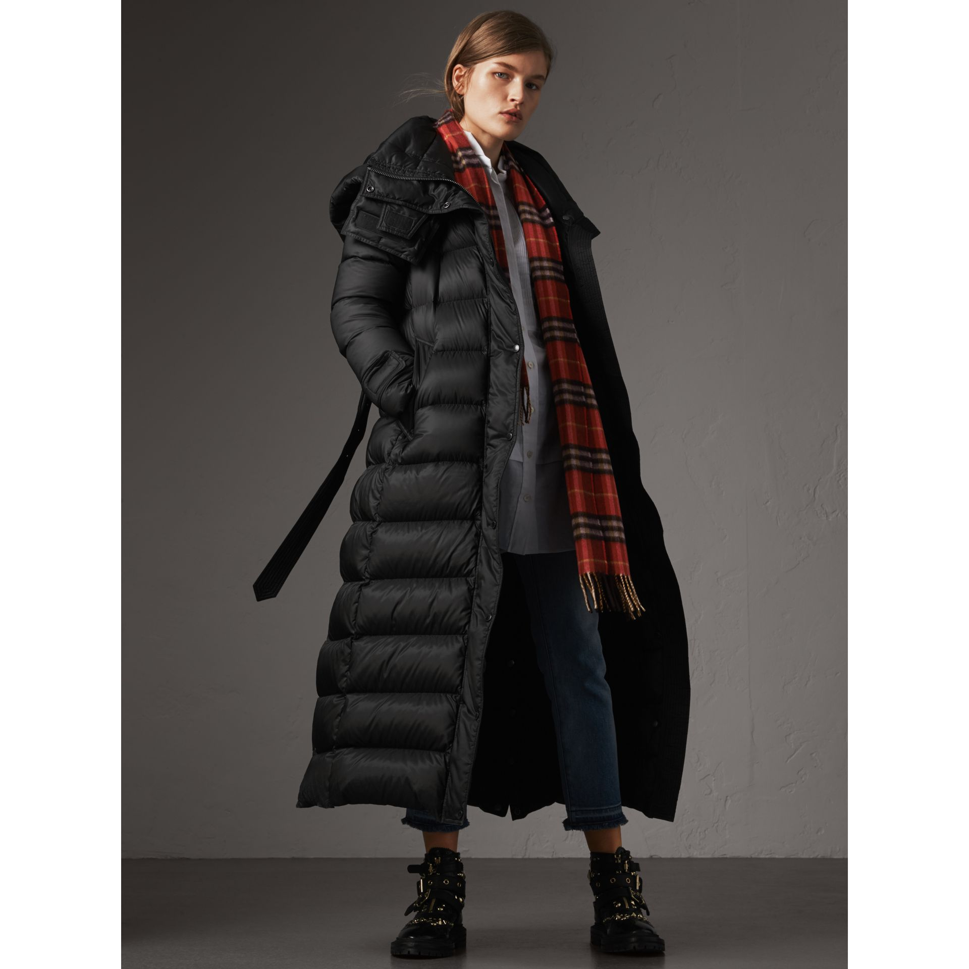 Detachable Hood Long Down-filled Puffer Coat in Black - Women | Burberry - gallery image 1