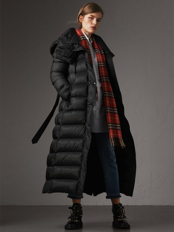 Detachable Hood Long Down-filled Puffer Coat in Black