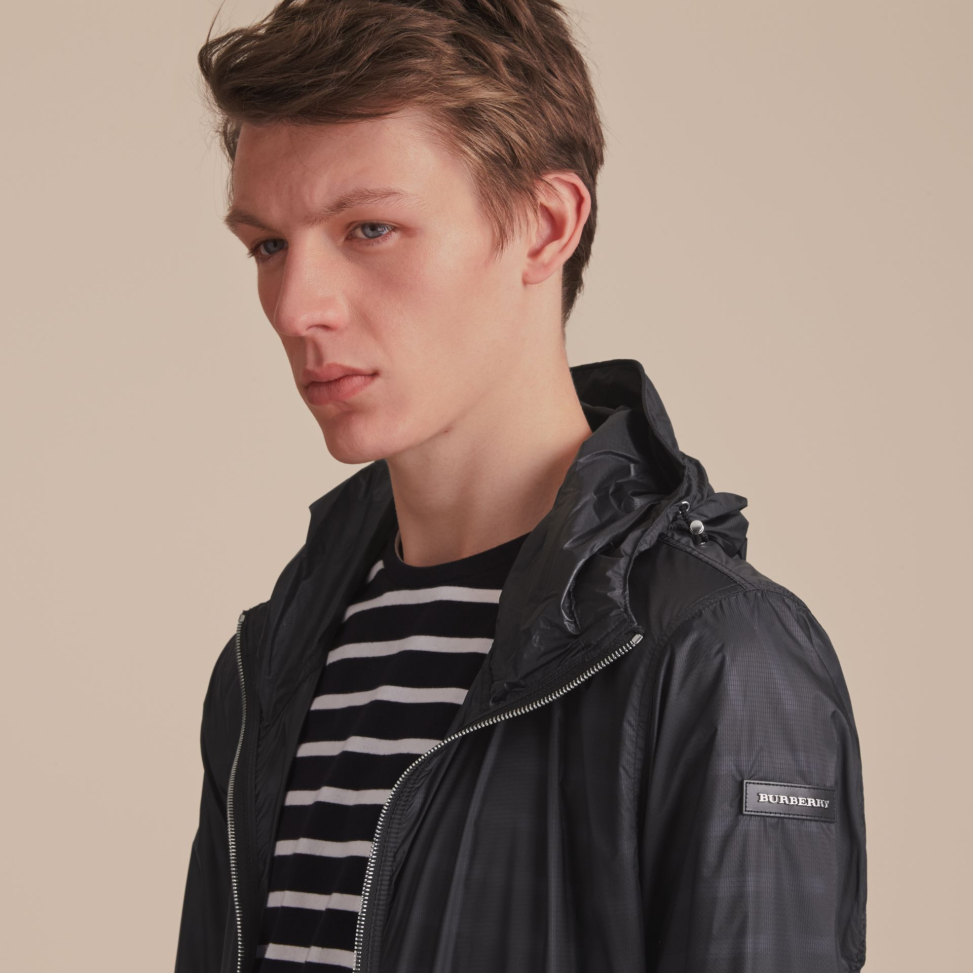 Hooded Super-lightweight Jacket Navy - gallery image 5