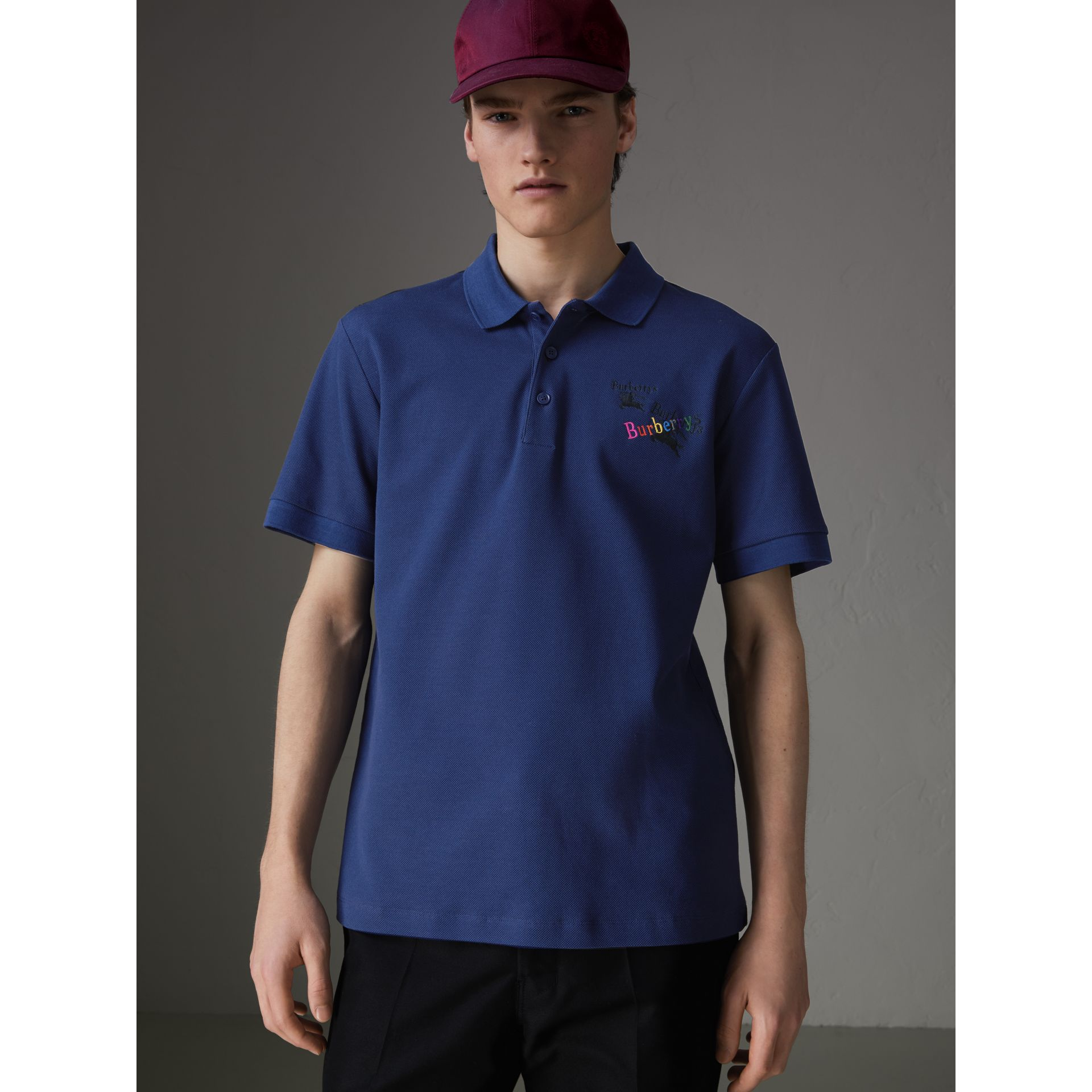 Triple Archive Logo Cotton Piqué Polo Shirt in Bright Indigo - Men | Burberry Singapore - gallery image 0