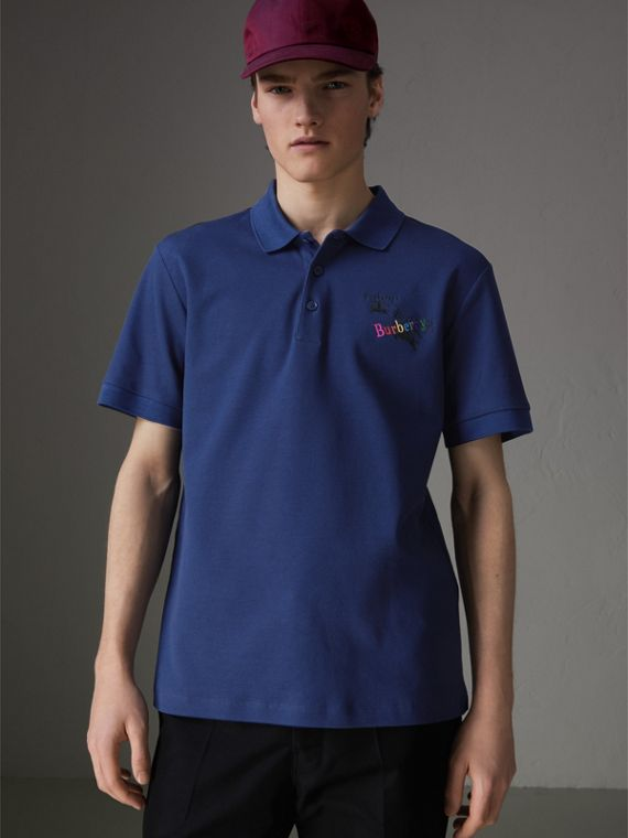 Triple Archive Logo Cotton Piqué Polo Shirt in Bright Indigo