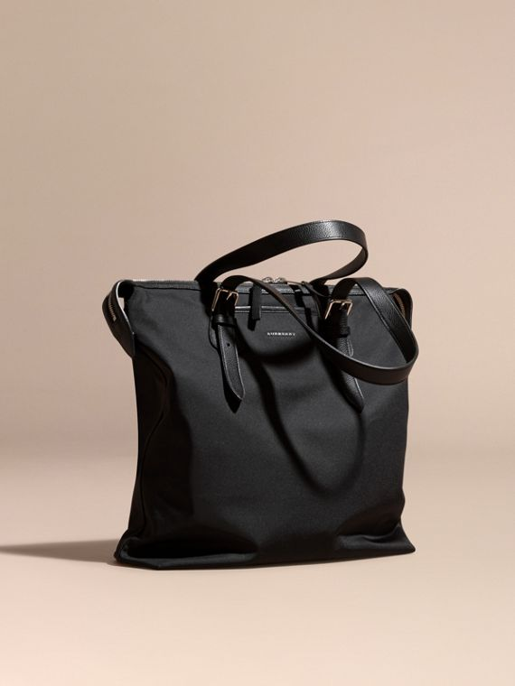 Leather Trim Tote Bag Black