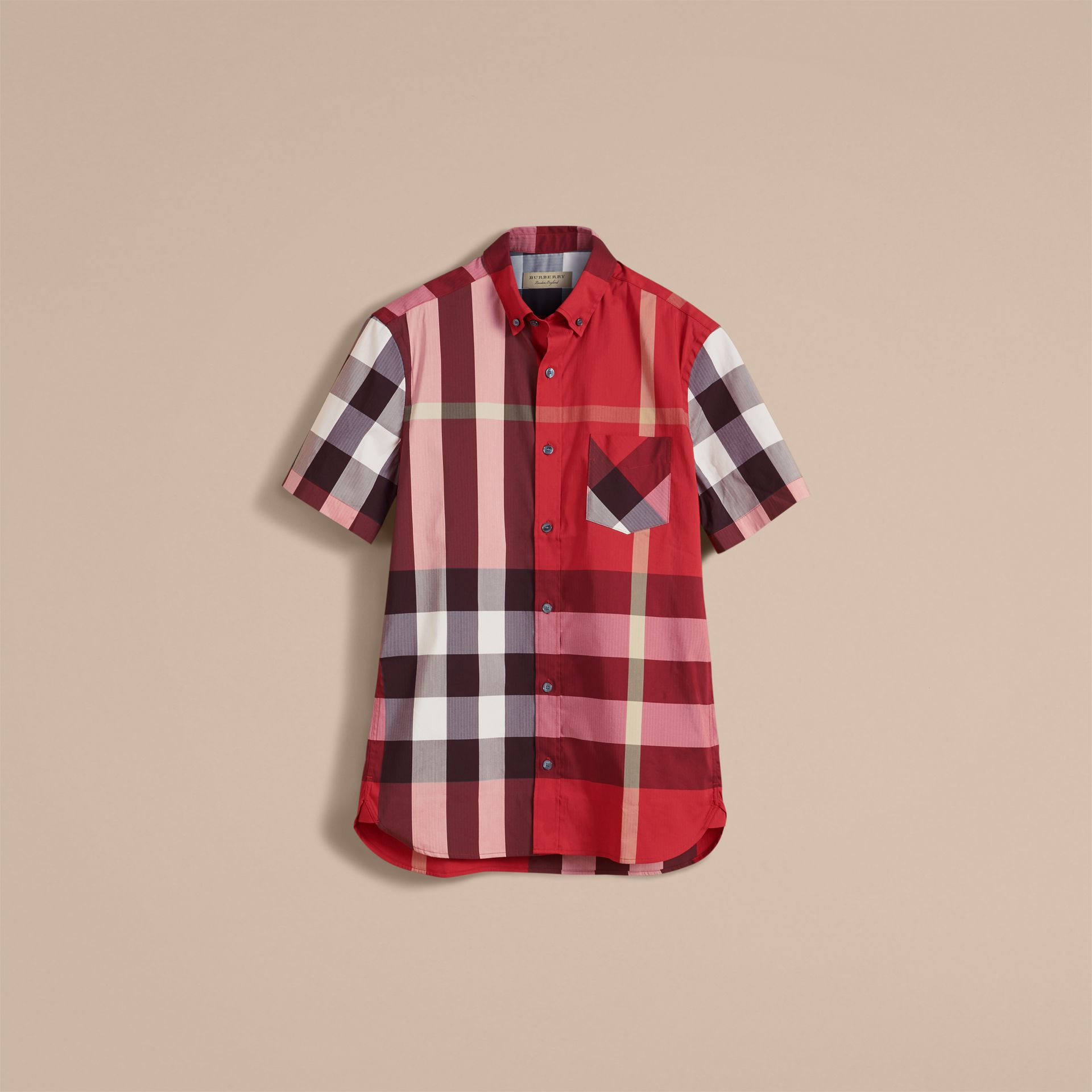 Short-sleeve Check Stretch Cotton Blend Shirt in Parade Red - Men | Burberry Canada - gallery image 4