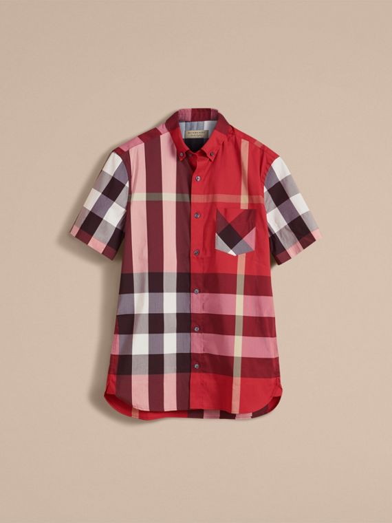 Short-sleeve Check Stretch Cotton Blend Shirt in Parade Red - Men | Burberry Canada - cell image 3