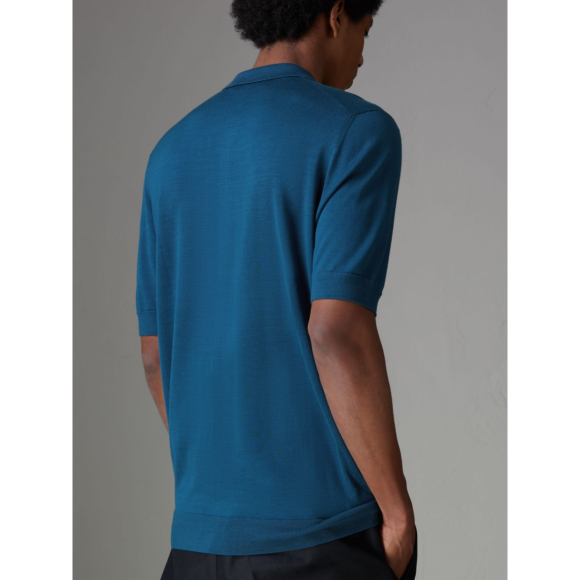 Knitted Silk Polo Shirt in Dark Teal Blue - Men | Burberry - gallery image 2