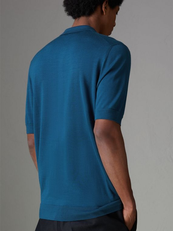 Knitted Silk Polo Shirt in Dark Teal Blue - Men | Burberry Hong Kong - cell image 2
