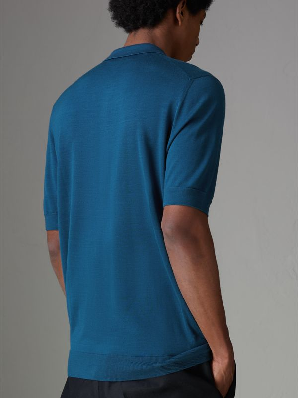 Knitted Silk Polo Shirt in Dark Teal Blue - Men | Burberry - cell image 2