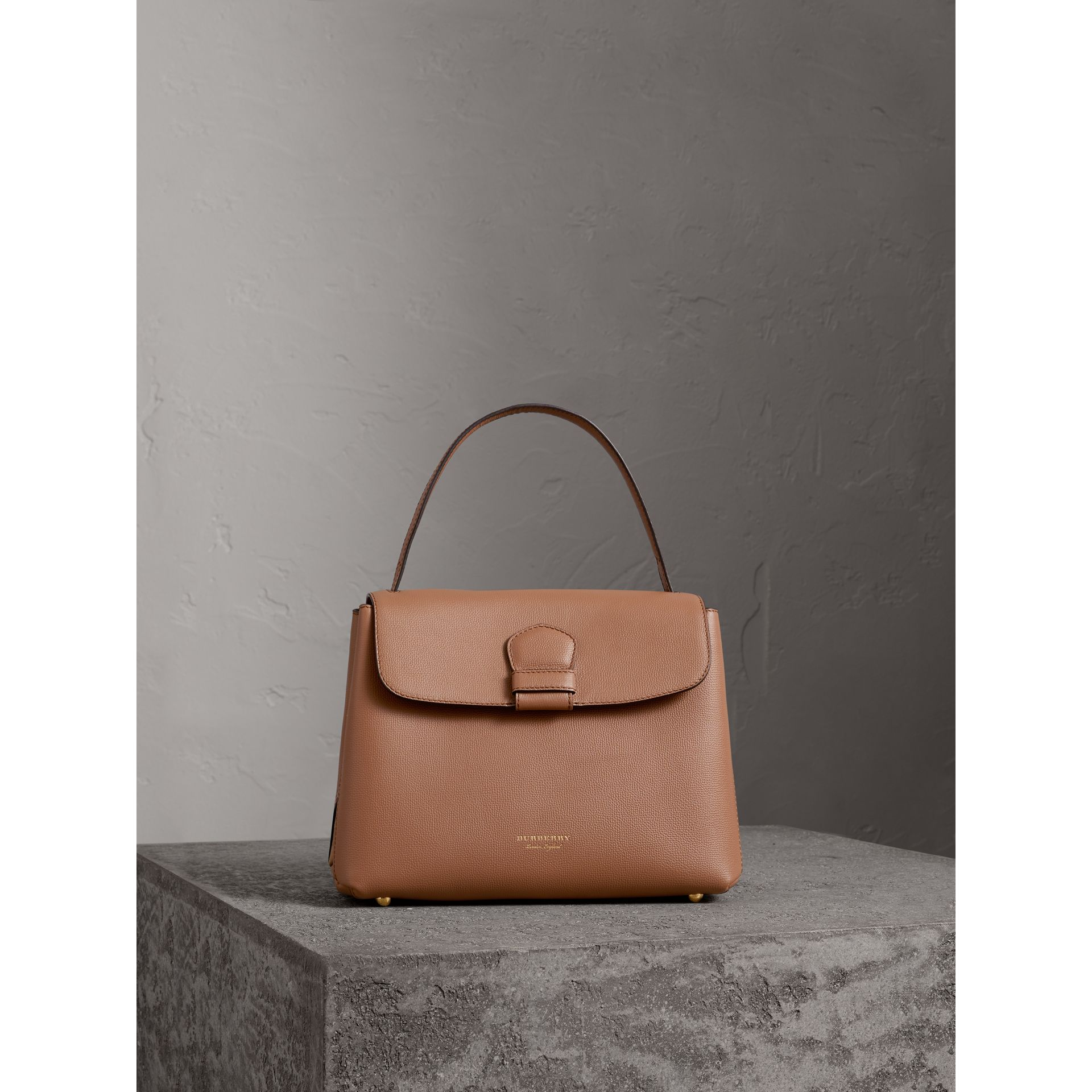 Medium Grainy Leather and House Check Tote Bag in Dark Sand - Women | Burberry - gallery image 6