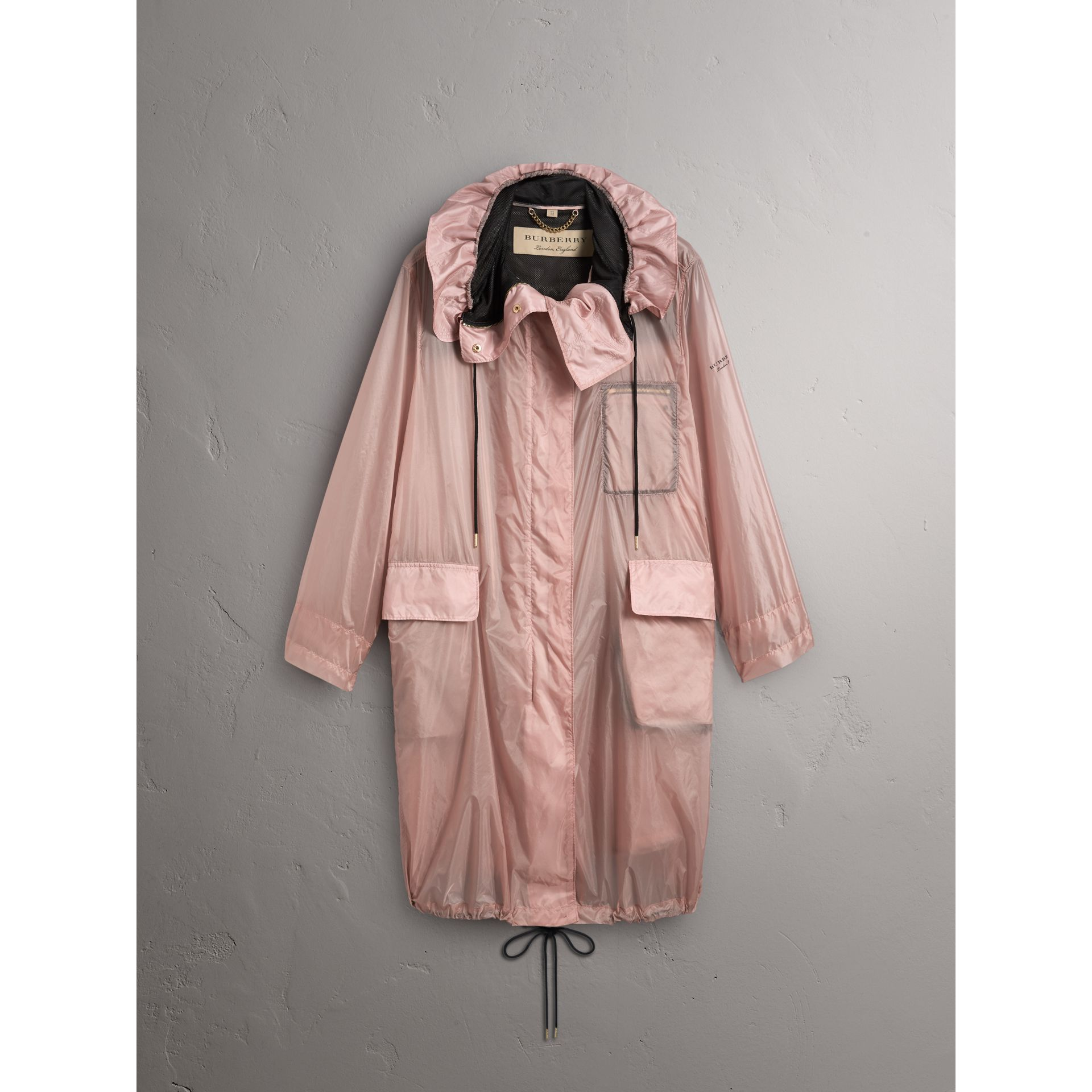 Hooded Lightweight Oversize Parka in Ash Rose - Women | Burberry - gallery image 4