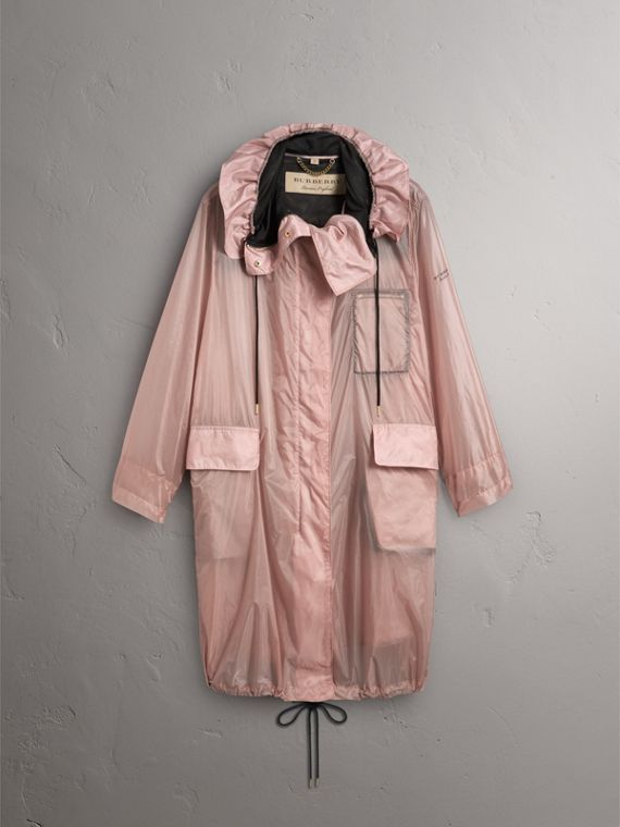Hooded Lightweight Oversize Parka in Ash Rose - Women | Burberry - cell image 3