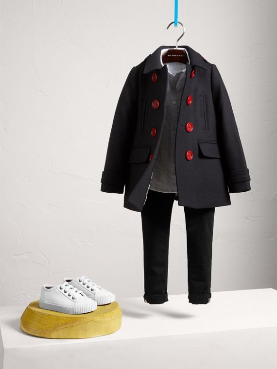 Pea coat in misto lana e cashmere con bottoni in resina (Navy)