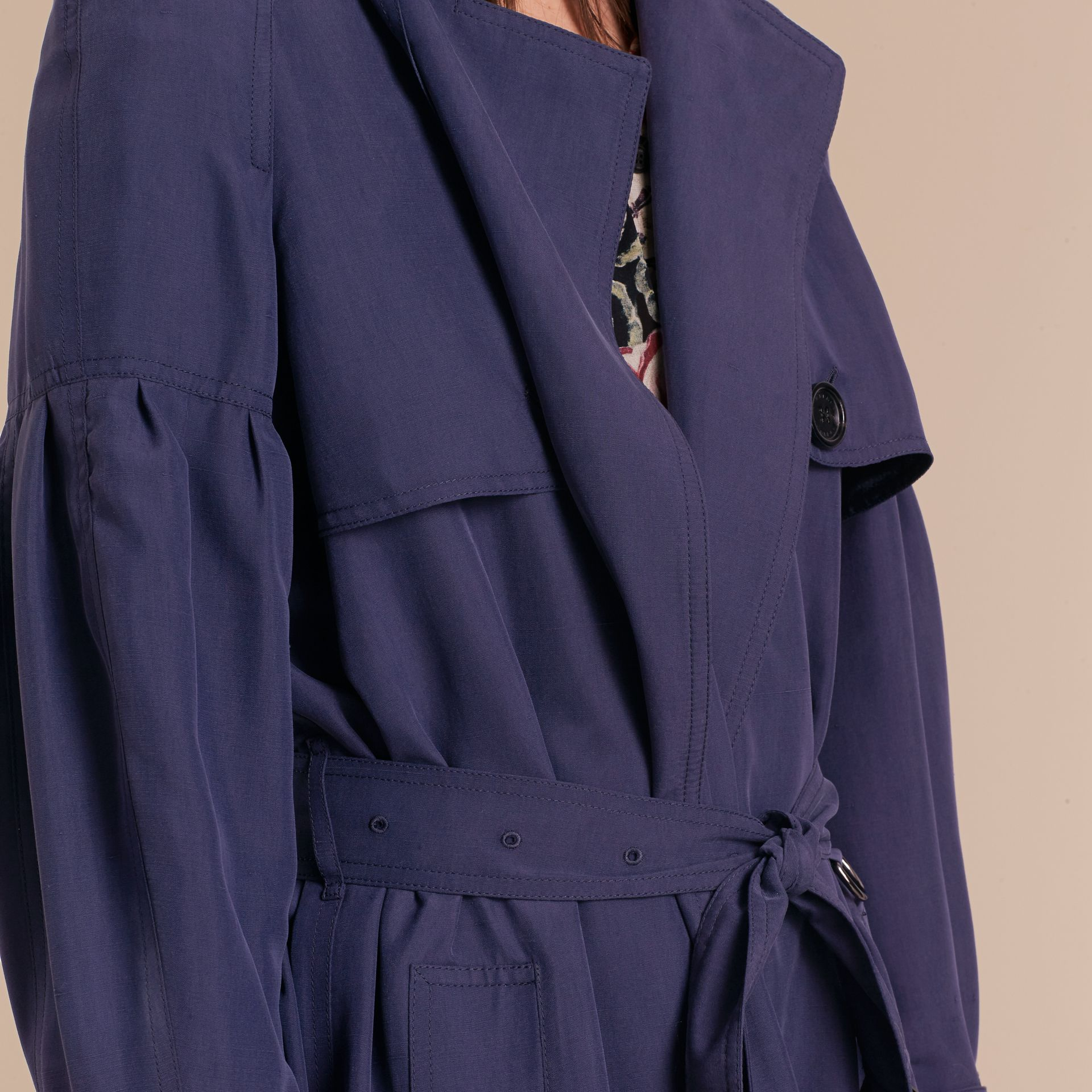 Oversize Silk Trench Coat with Puff Sleeves in Navy - gallery image 6