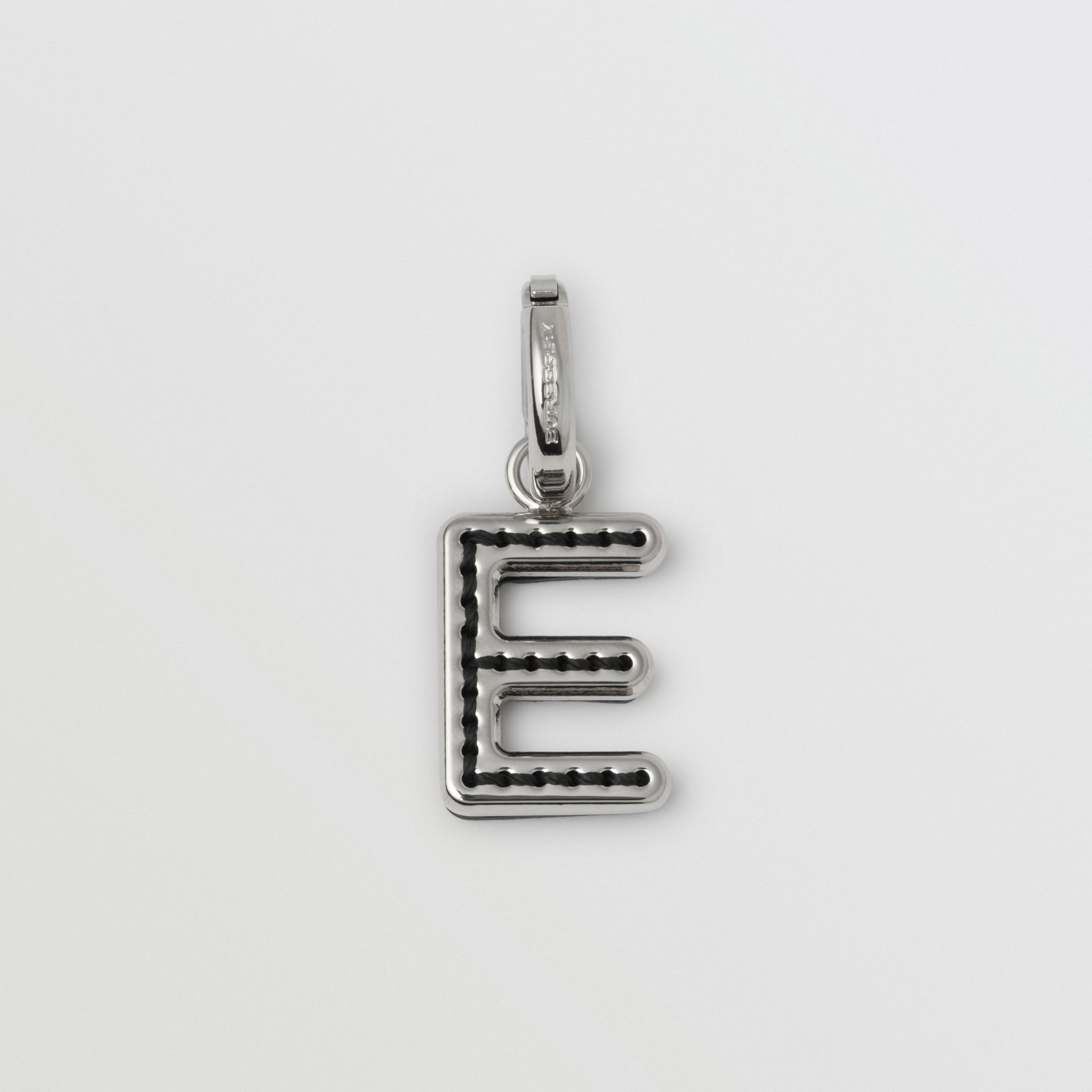 Leather-topstitched 'E' Alphabet Charm in Palladio/black - Women | Burberry - gallery image 0