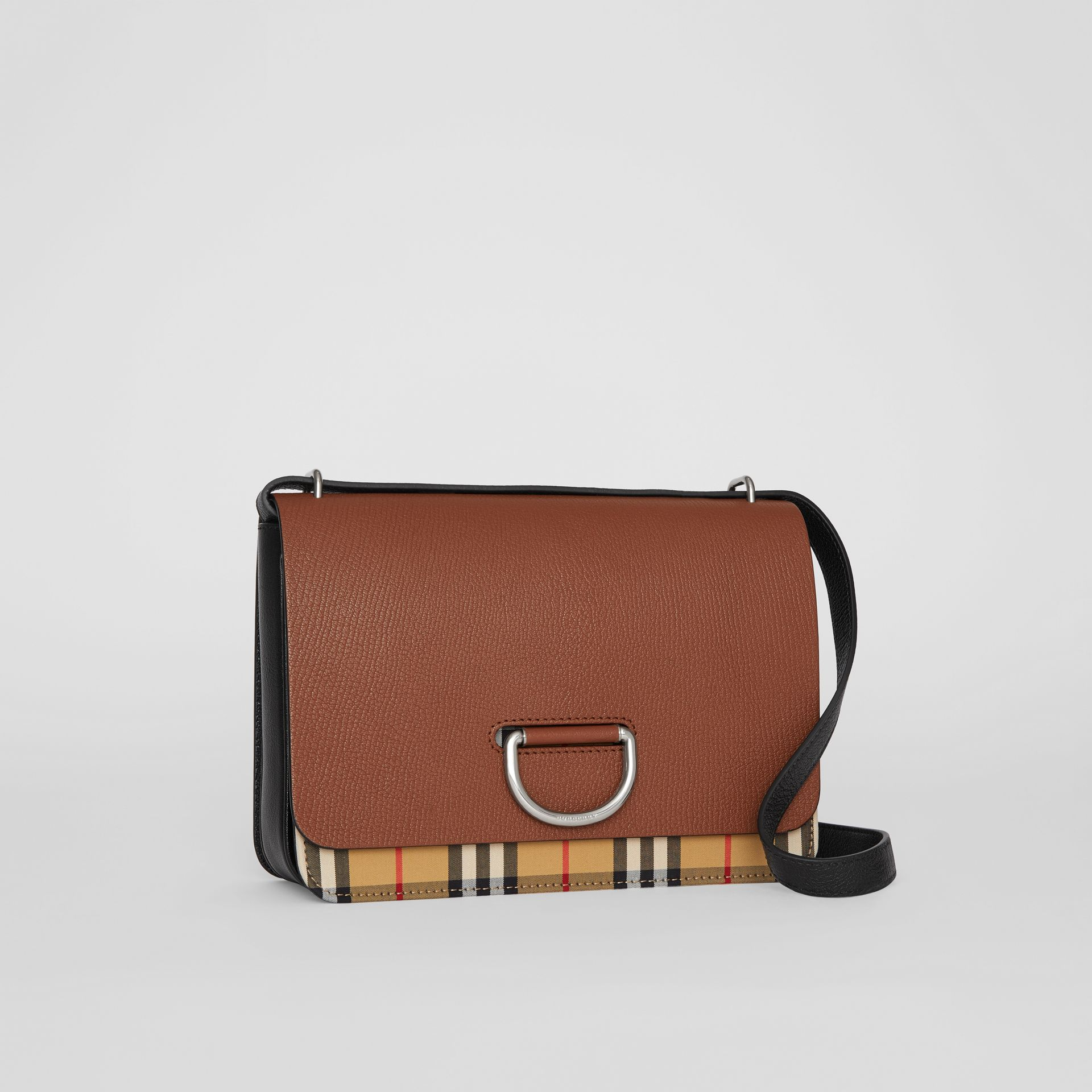 The Medium Vintage Check and Leather D-ring Bag in Tan/black - Women | Burberry Australia - gallery image 6