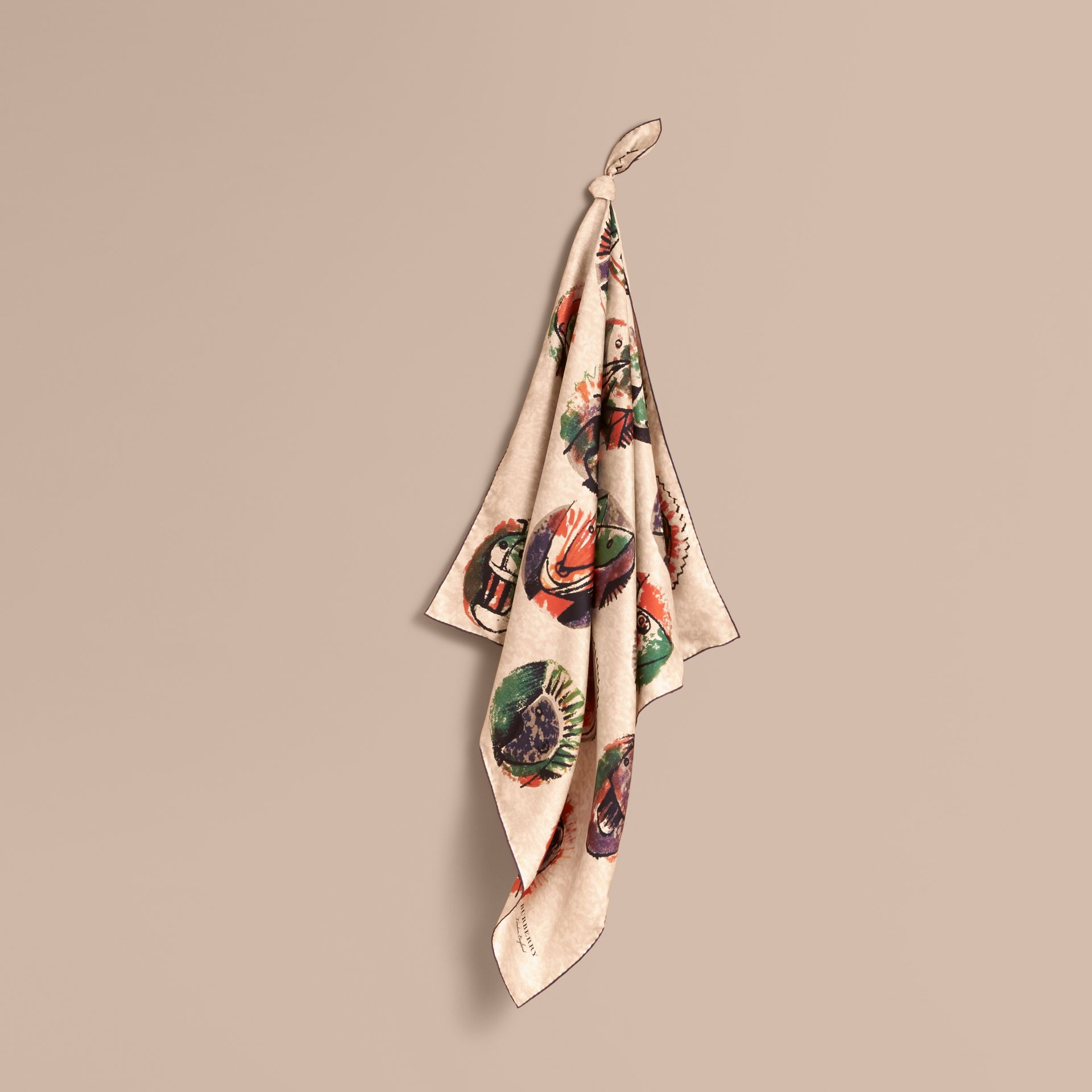 Pallas Heads Print Silk Square – Small in Pale Orange - Women | Burberry United States - gallery image 1