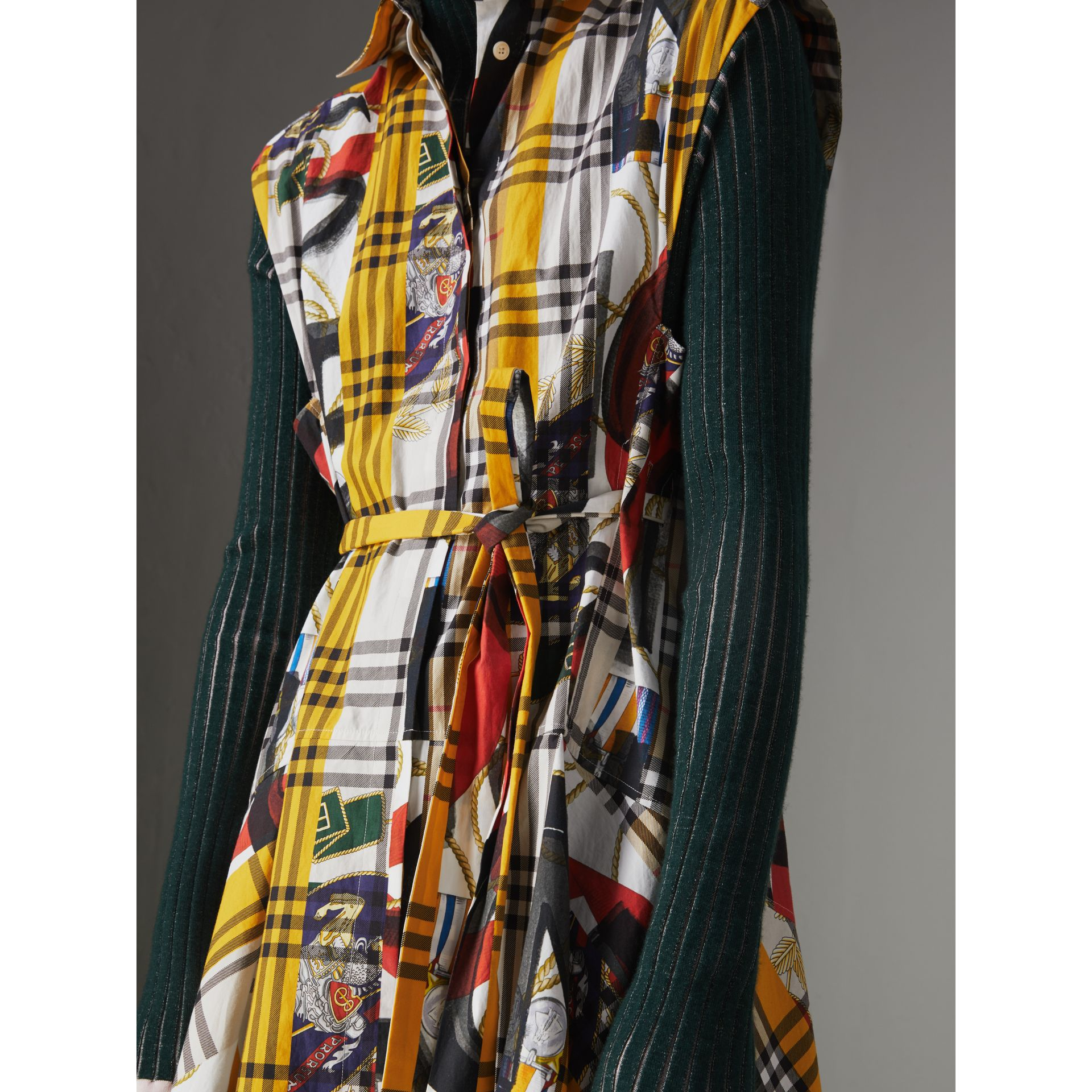 Archive Scarf Print Check Cotton Shirt Dress in Multicolour - Women | Burberry Australia - gallery image 1