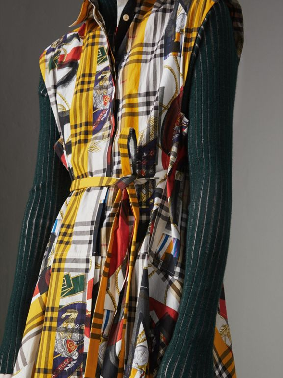 Archive Scarf Print Check Cotton Shirt Dress in Multicolour - Women | Burberry - cell image 1