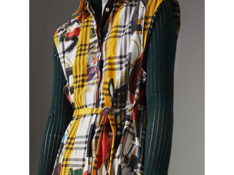 Archive Scarf Print Check Cotton Shirt Dress in Multicolour - Women | Burberry Australia - cell image 1