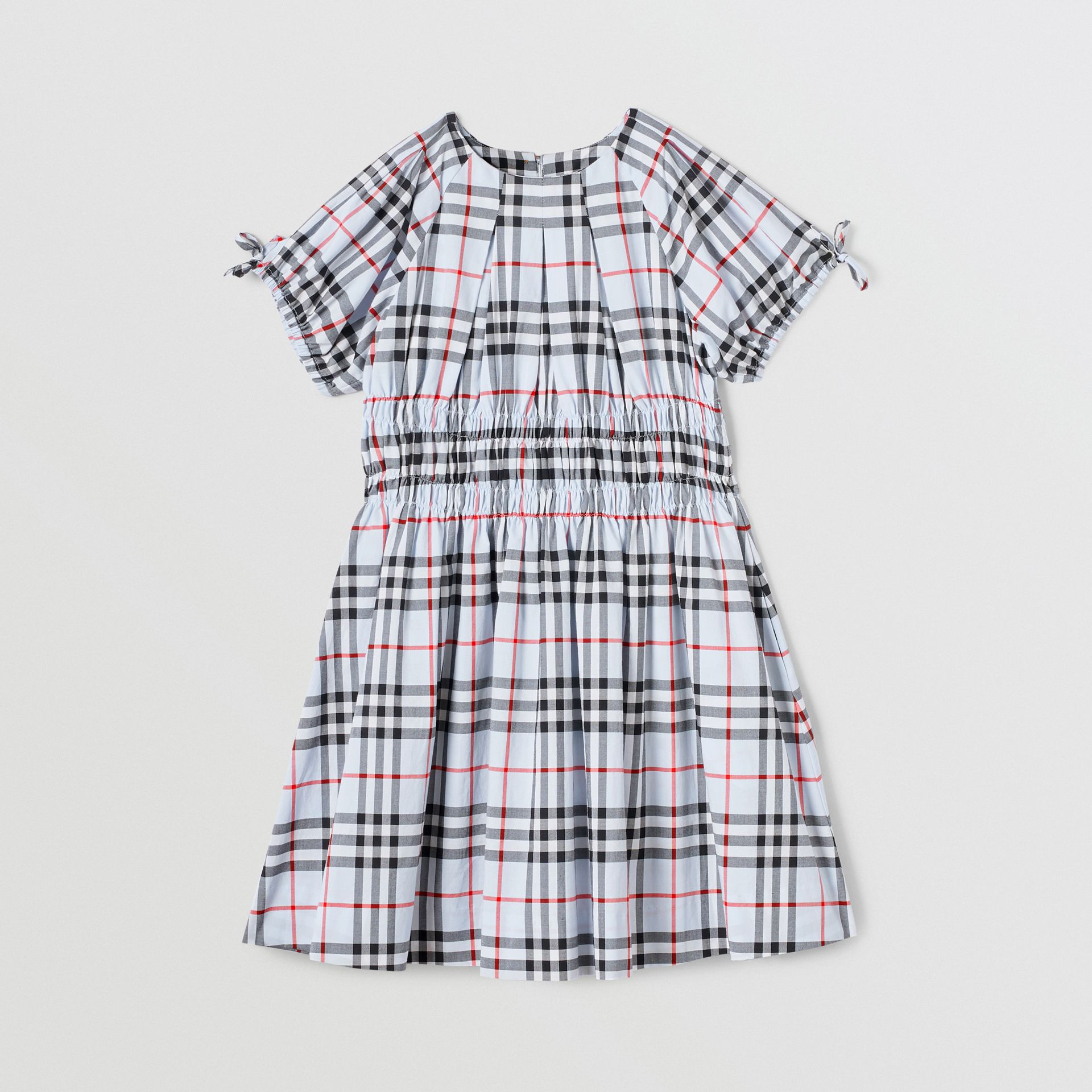Ruched Panel Vintage Check Cotton Dress in Pale Blue | Burberry - gallery image 0