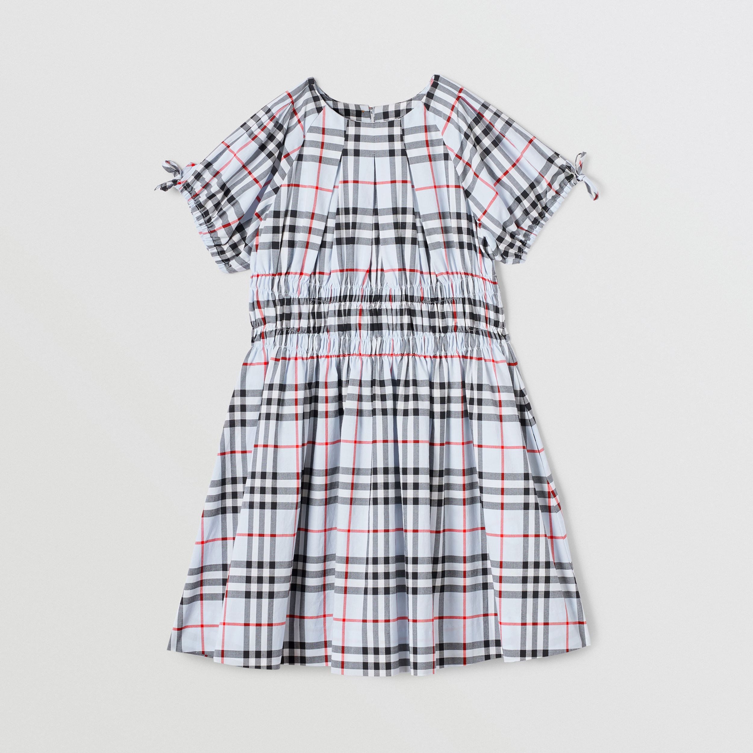 Ruched Panel Vintage Check Cotton Dress in Pale Blue | Burberry Australia - 1