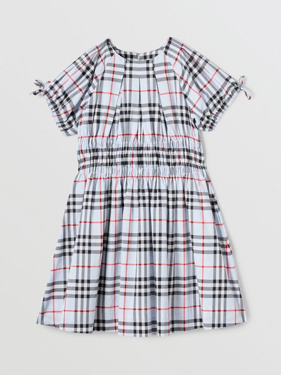Ruched Panel Vintage Check Cotton Dress in Pale Blue