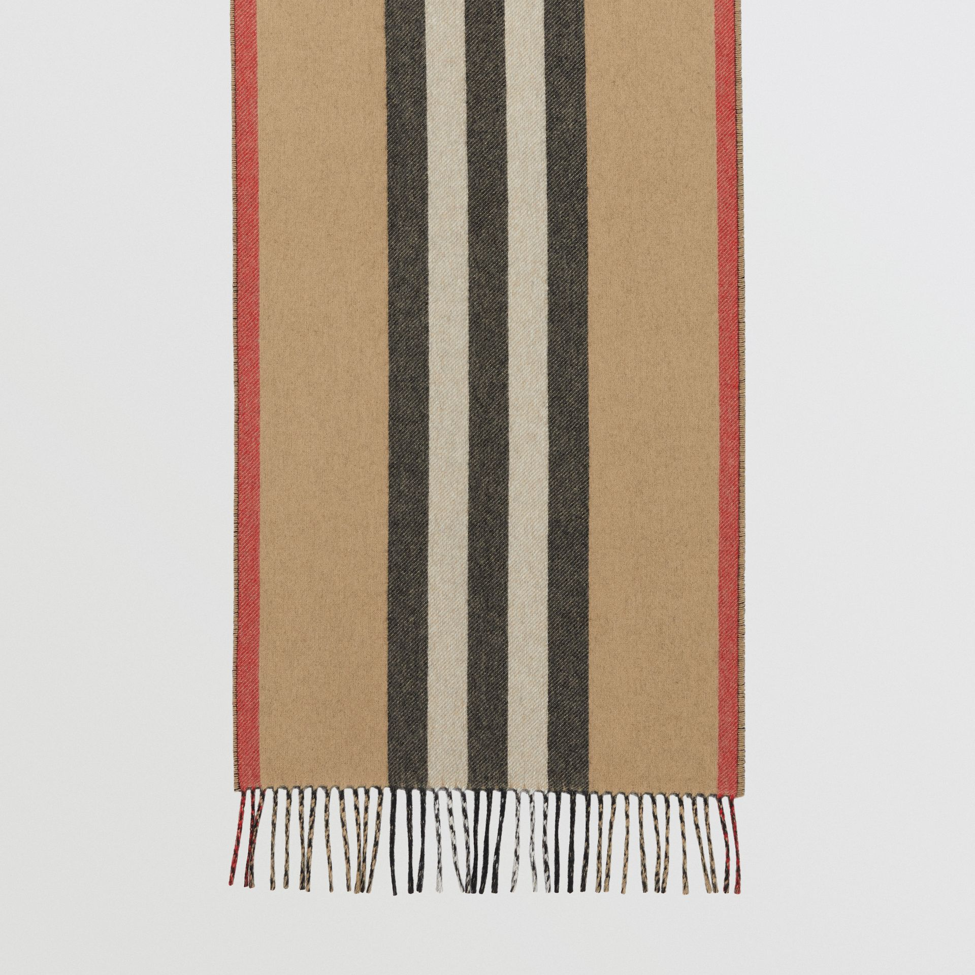 Reversible Icon Stripe Cashmere Scarf in Archive Beige | Burberry Canada - gallery image 4