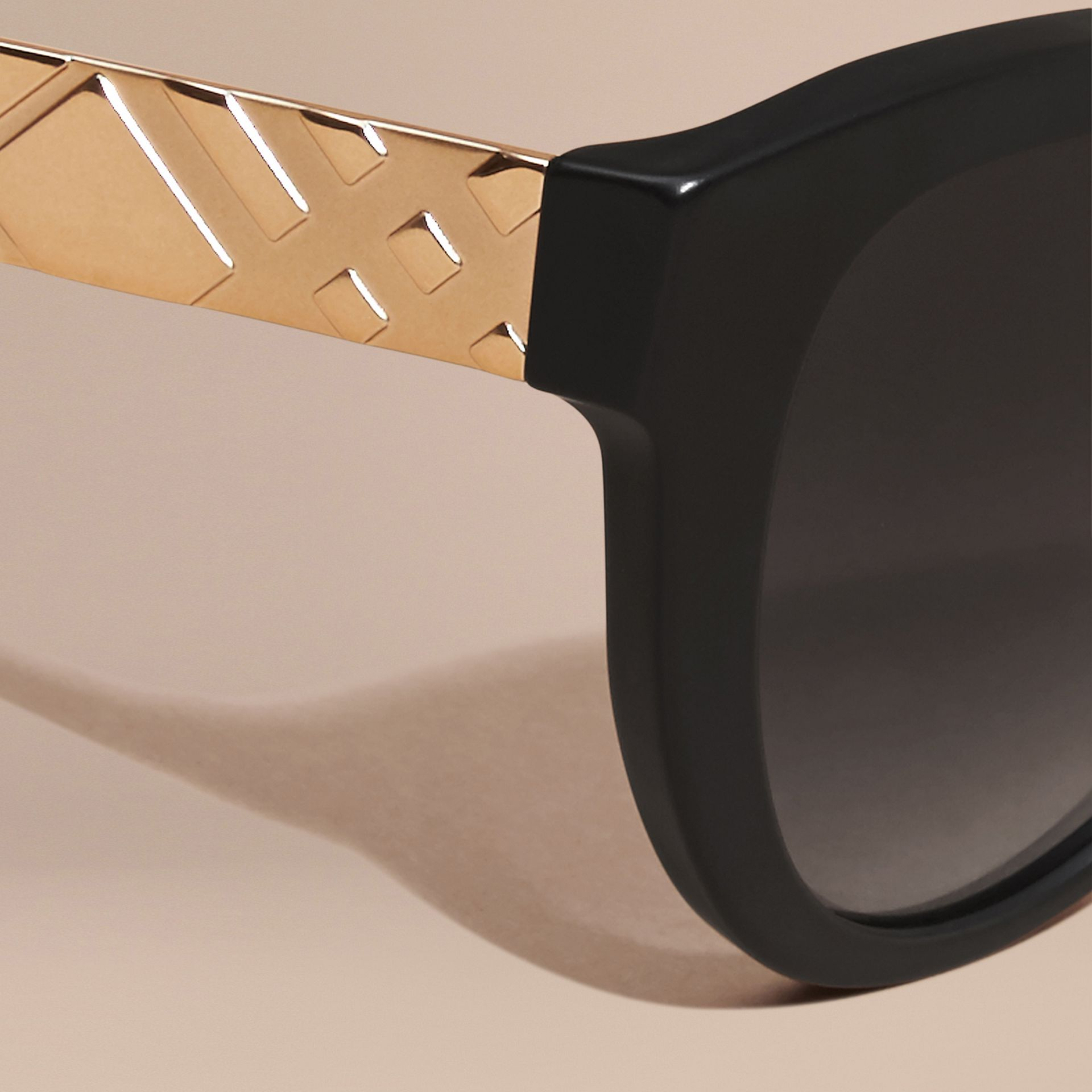 Black 3D Check Cat-eye Polarised Sunglasses - gallery image 2