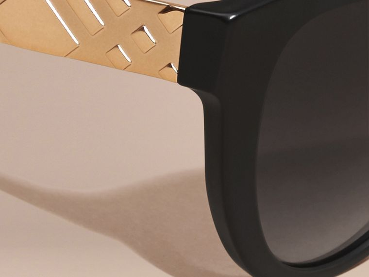 Black 3D Check Cat-eye Polarised Sunglasses - cell image 1