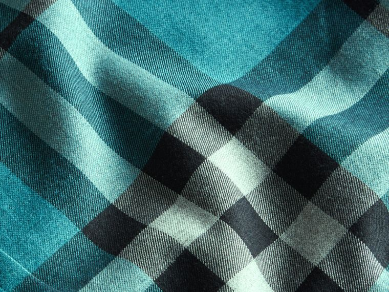 Check Cotton Cashmere Flannel Shirt in Bright Turquoise - cell image 1