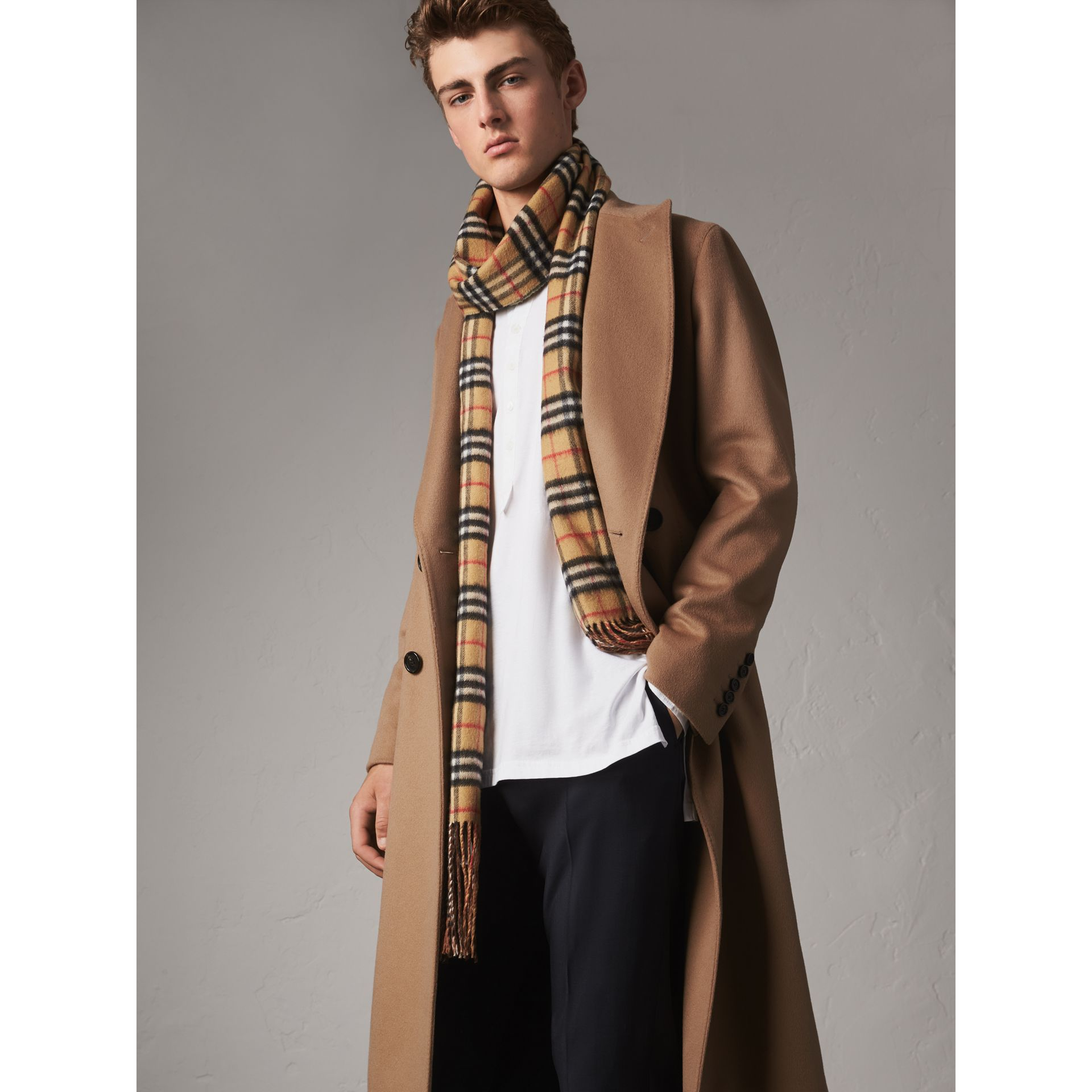 Double-breasted Extra Long Wool Cashmere Coat in Camel - Men | Burberry Singapore - gallery image 6