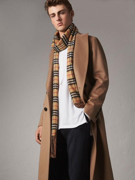 Double-breasted Extra-long Wool Cashmere Coat in Camel