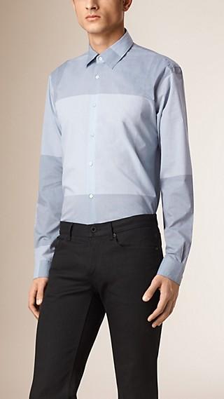 Colour Block Chambray Cotton Shirt
