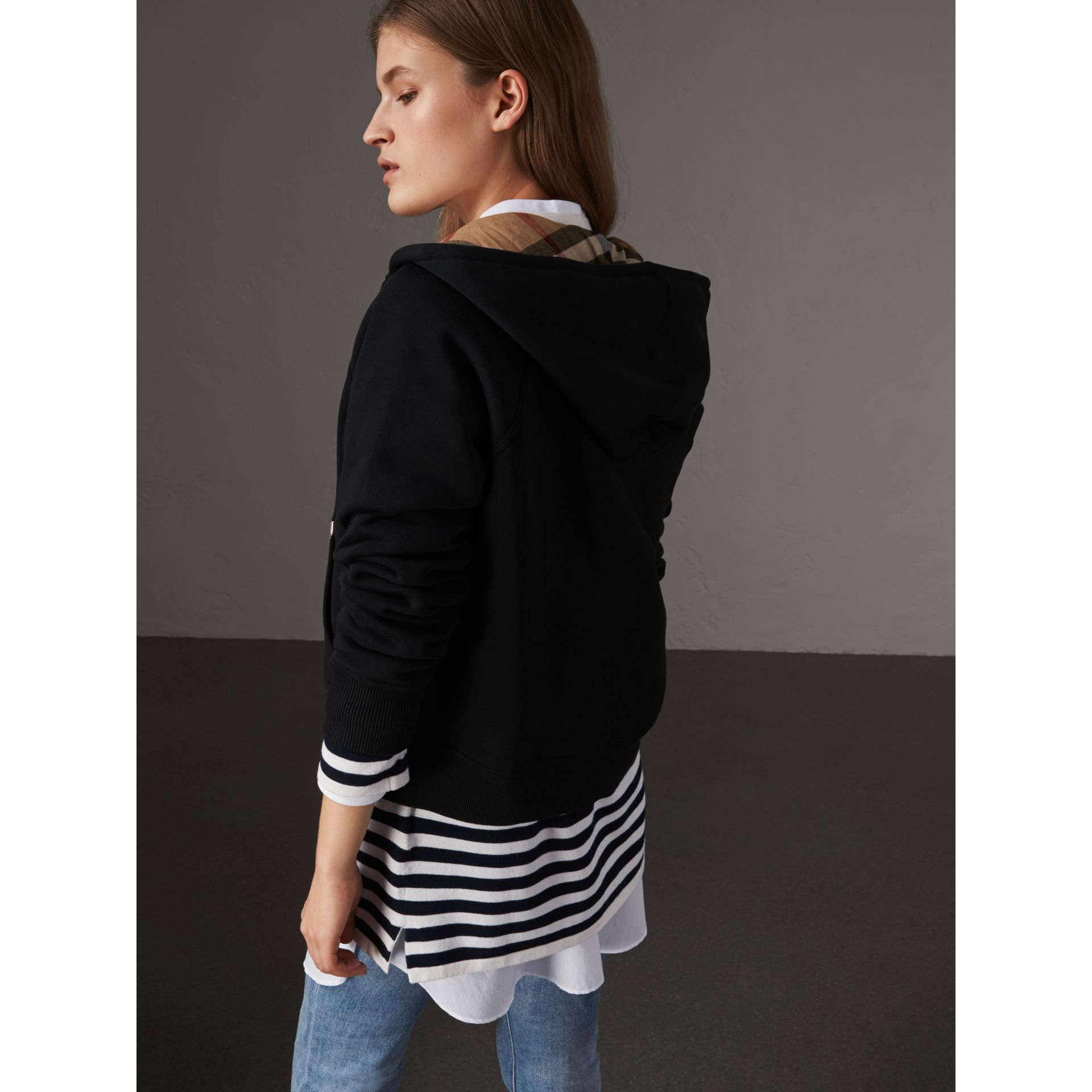 Hooded Zip-front Cotton Blend  Sweatshirt in Black - Women | Burberry - gallery image 3