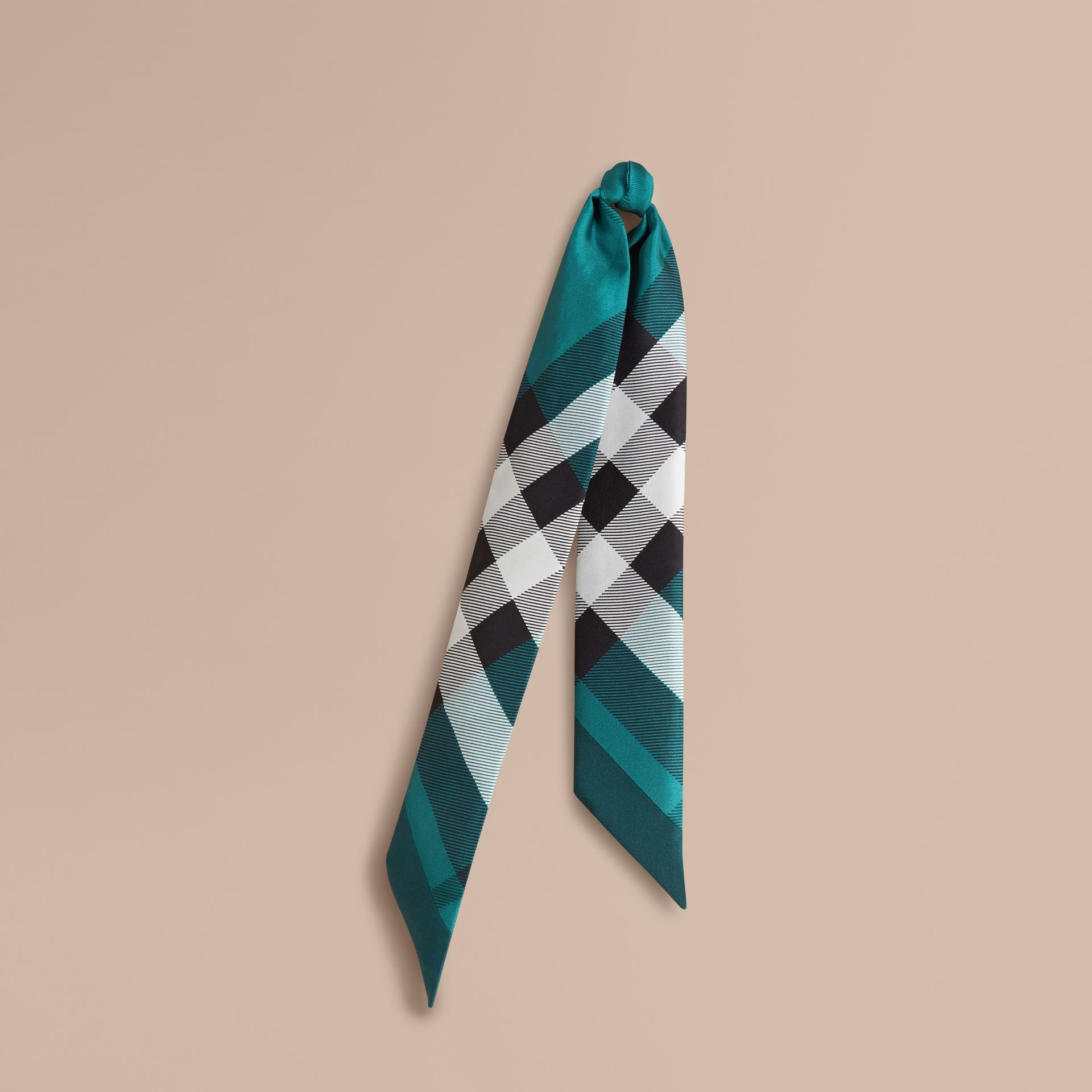 Dark aqua Check Print Slim Silk Scarf Dark Aqua - gallery image 1