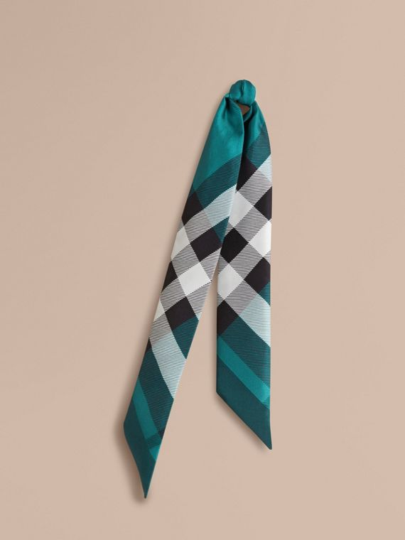 Check Print Slim Silk Scarf Dark Aqua
