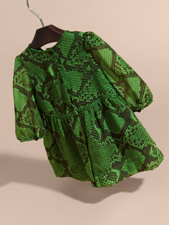 Bright green Python Print Ruffle-bib Silk Dress - cell image 3