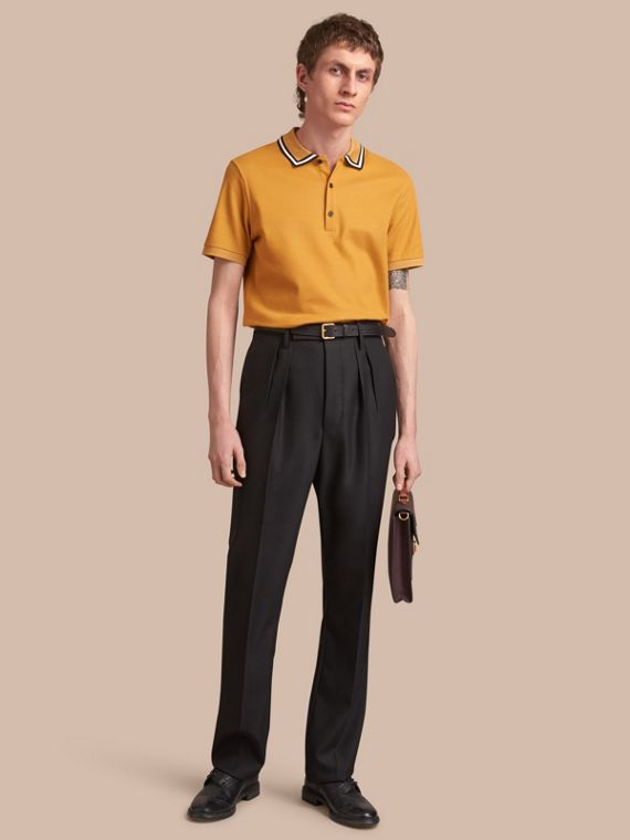 Striped Collar Cotton Piqué Polo Shirt in Saffron Yellow