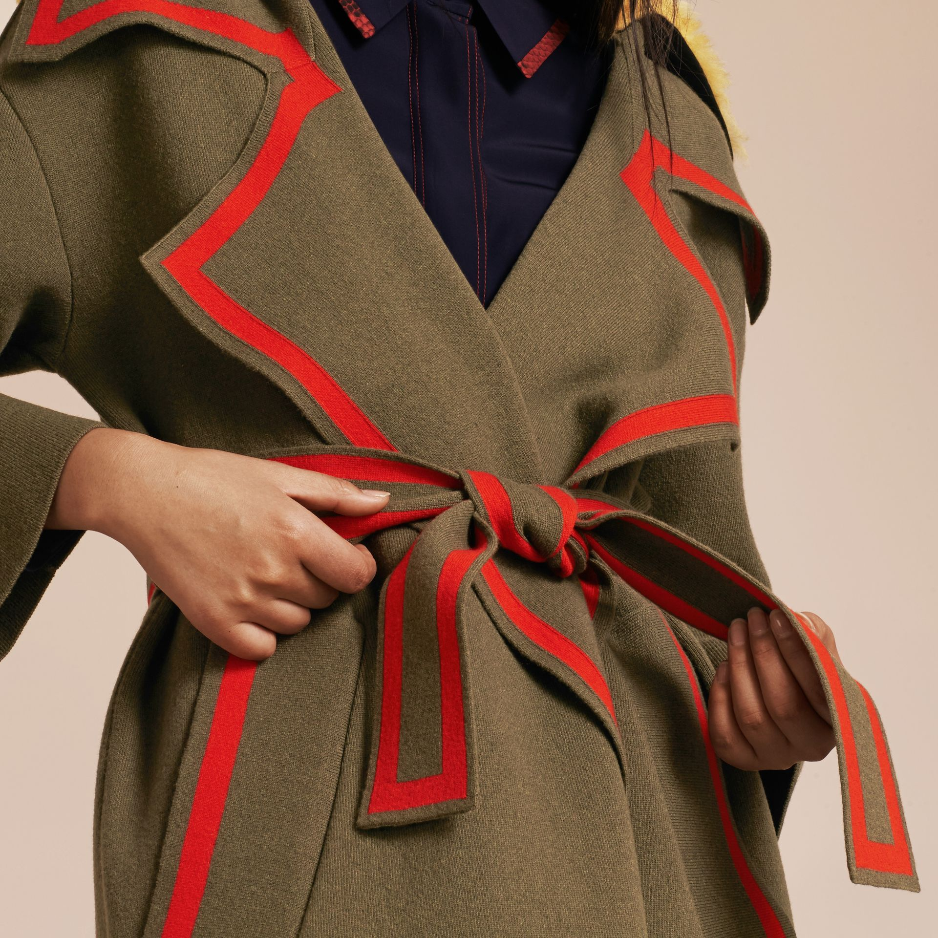 Military green Stretch Wool Cashmere Cardigan Coat with Shearling Collar - gallery image 6