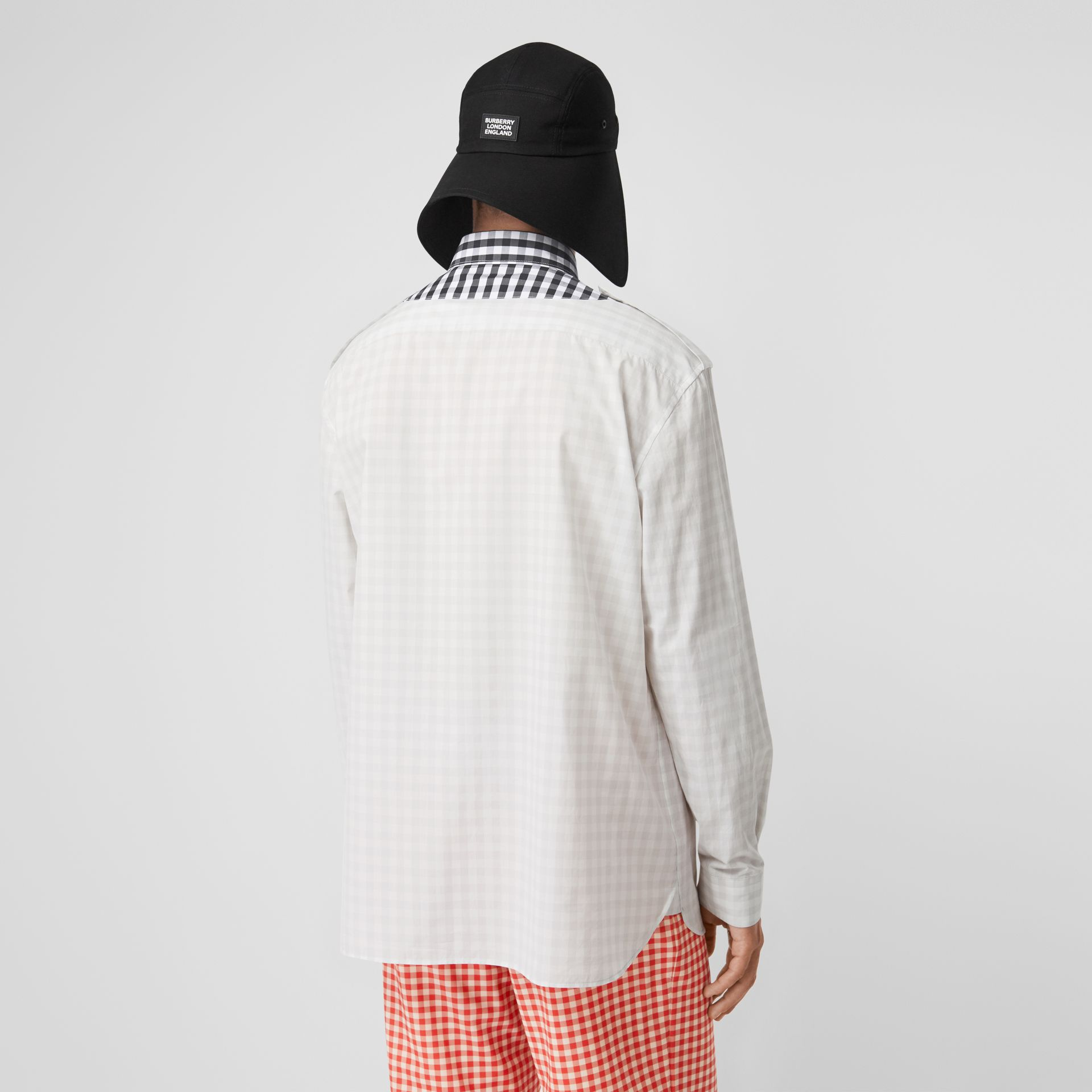 Contrast Bib Gingham Cotton Poplin Oversized Shirt in Light Pebble Grey | Burberry - gallery image 2