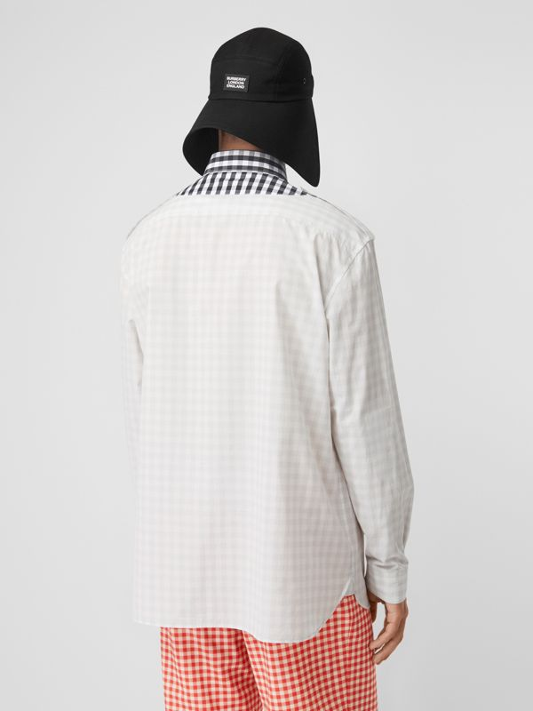 Contrast Bib Gingham Cotton Poplin Oversized Shirt in Light Pebble Grey | Burberry - cell image 2